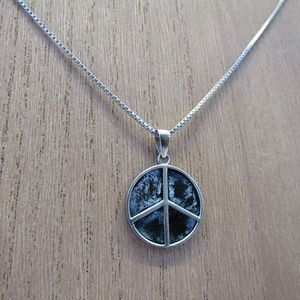 Vintage 925 Sterling Necklace Peace Symbol